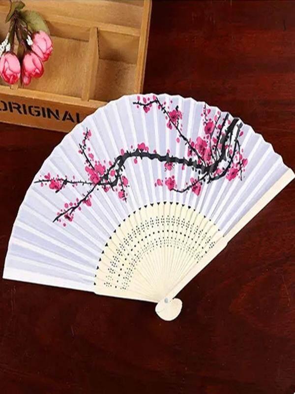 Wobang Pattern Folding Dance Wedding Party Lace Silk Folding Hand Held Flower Fan
