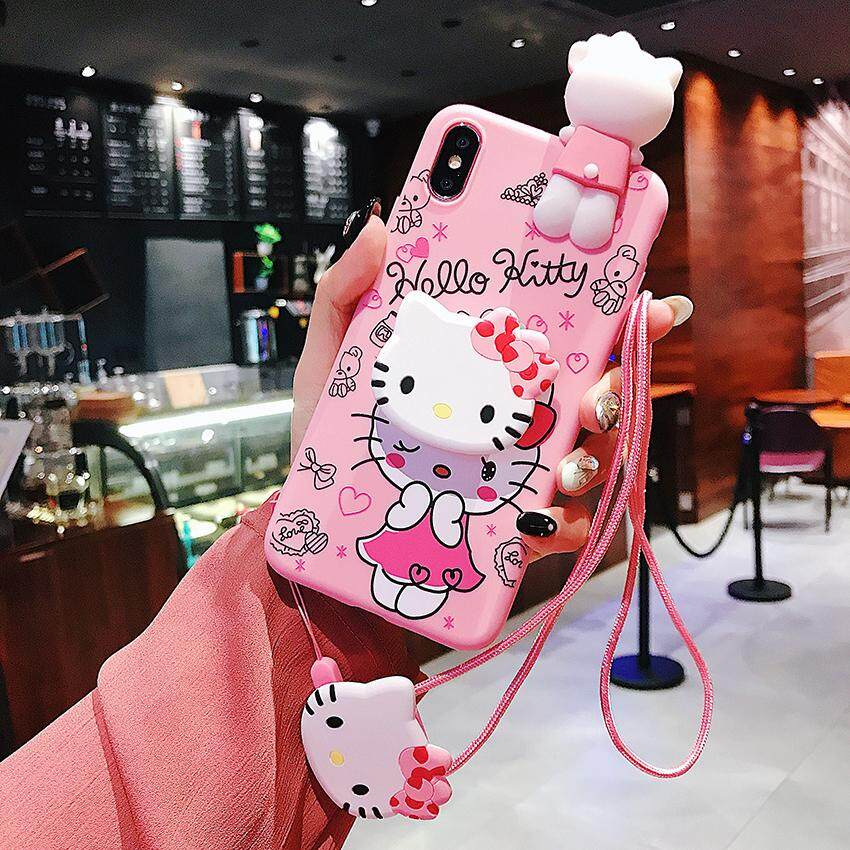 For OPPO A3s A5 A5s A7 F5 A73 A83 A77 Case 3D Cute Cartoon Hello Kitty  Lanyard Wrist Strap Case With Holder Stand Soft TPU Back Cover