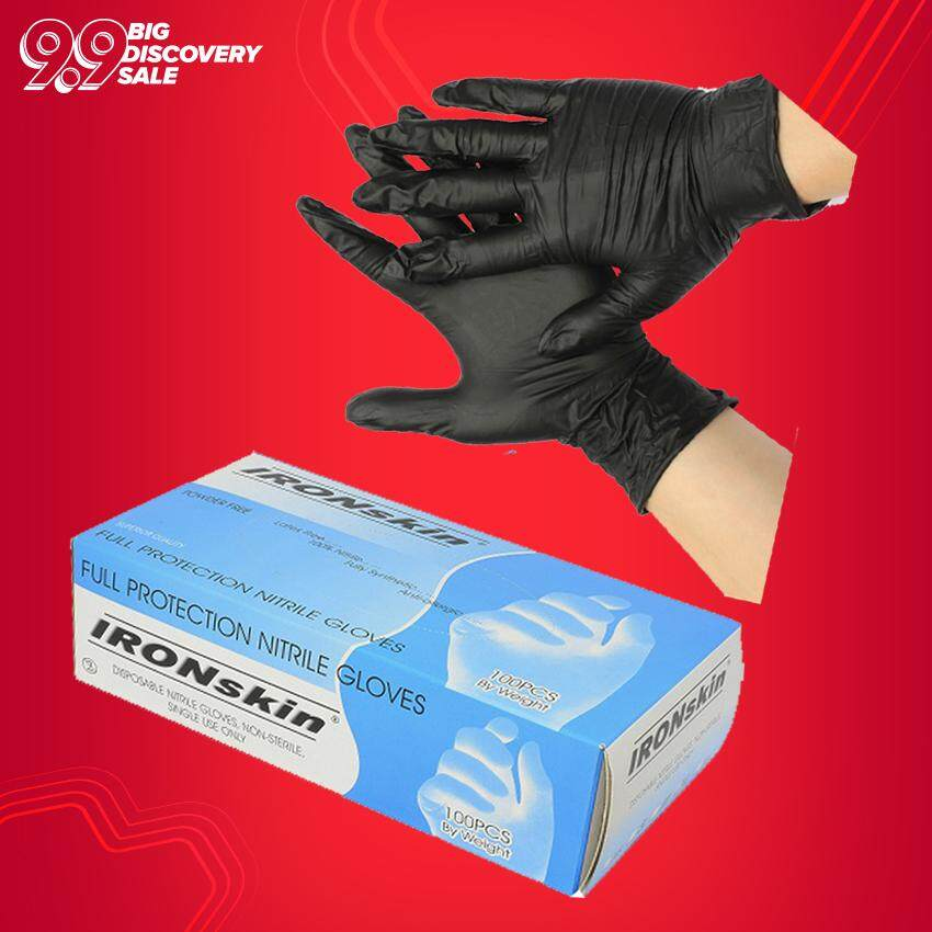 IRONskin Nitrile Exam Glove Black 100 PCS - S M L XL Size Product Malaysia