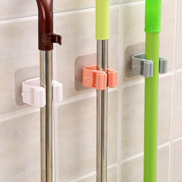 Mop Clip Punch-free Hanging Mop Holder Toilet Mop Hook Bathroom Sticky Hook Broom Hanger Card Holder Mop Clip