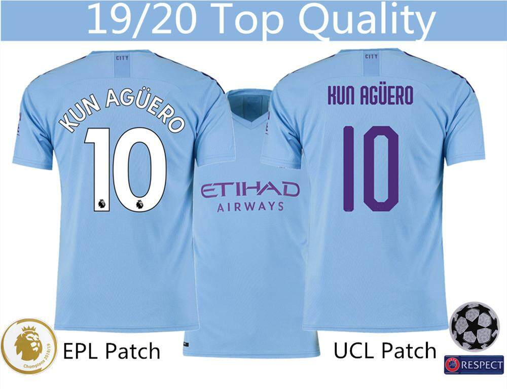 the best attitude bab84 db3b1 Top Quality 19/20 Man city Home Football Jersey Kun Aguero 10 De Bruyne 17