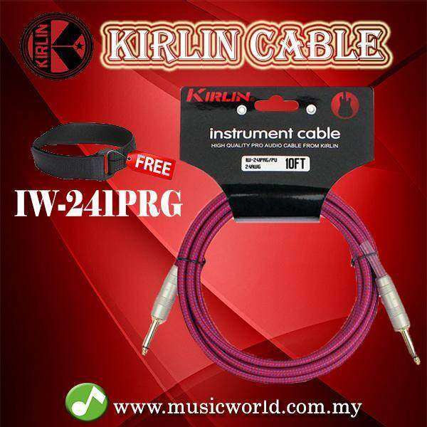 Kirlin IW-241PRG /PU 3 Meter Original Gold Woven Instrument Cable Electric Guitar Amp Keyboard Bass Amplifier Drum Purple Malaysia