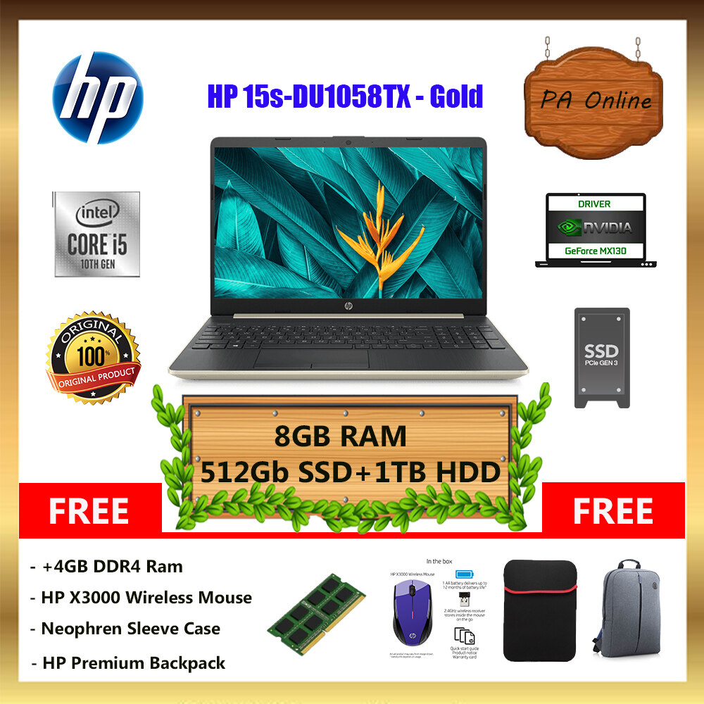HP 15S-DU1057TX - Intel Core i5-10210u /8GB or 16GB Ram /512GB SSD+1TB HDD /15.6  FHD LED /2GB NVD MX130 /Win 10 /2 Years Malaysia