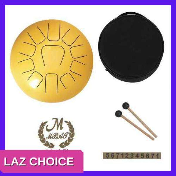 LAZ CHOICE 12 Inch Steel Tongue Drum 11-Tone Hand Pan Drum Stainless Steel Percussion Instrument with Drum Mallets Carry Bags Note Sticks (Gold) Malaysia