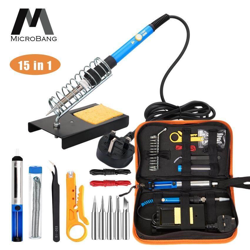 MicroBang Soldering Iron Kit Electronics 15 Pieces Set 60W Adjustable Temperature Welding Tool, 5pcs Soldering Tips, Desoldering Pump, Soldering Iron Stand, Tweezers ( UK Plug)
