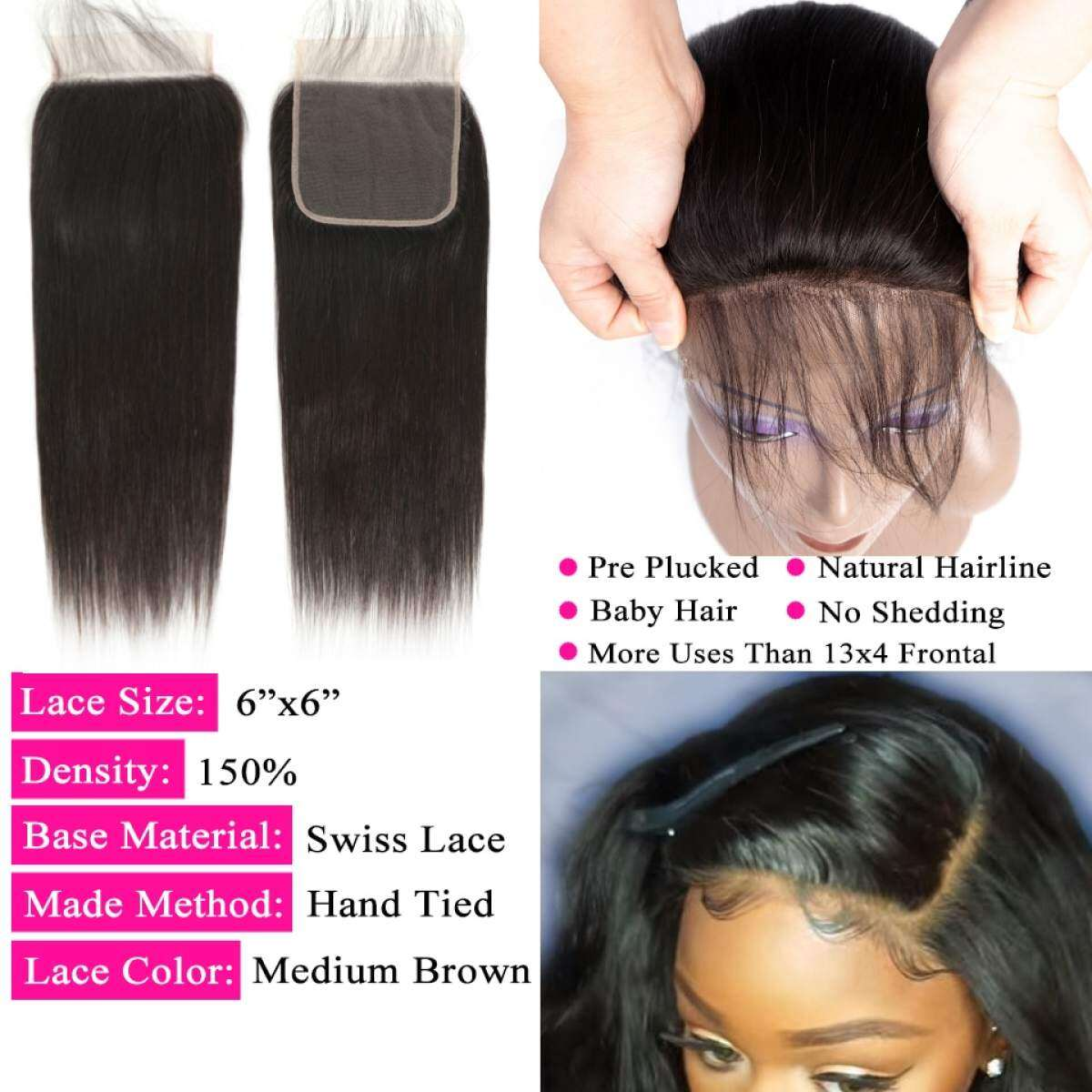 6 6 Lace Closure And Human Hair Bundles With 6x6 Closure Brazilian Hair Weave Bundles Straight 3 Bundles With Closure Lazada