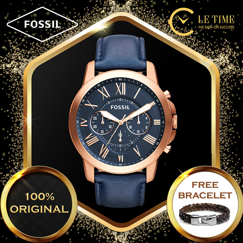 [Authentic *FREE BRACELET*] Fossil Grant Chronograph Navy Leather Men Watch Jam Tangan Lelaki FS4835 For Man Malaysia
