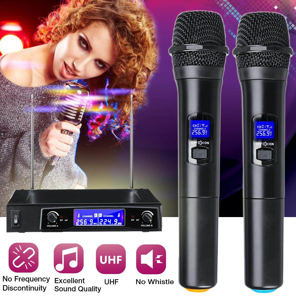 110-220v Professional Wireless 2 Channel Dual Handheld Microphone Mic System By Freebang.