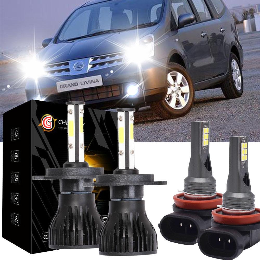 Lampu Depan LED untuk Nissan Grand Livina (L10) (2006 - 2013) - H4 6000K + H11 Bola Lampu Kabut