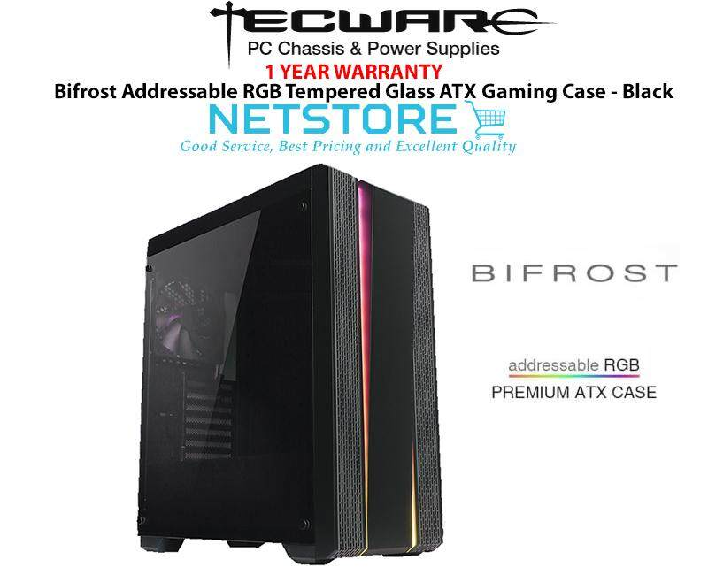 Tecware BIFROST Addressable RGB Tempered Glass ATX Gaming Case - Black Malaysia
