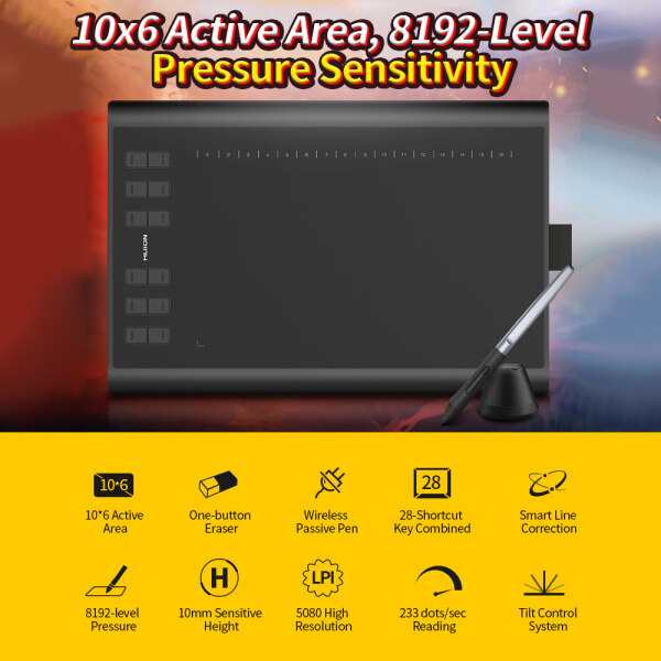 Huion H1060P Graphic Drawing Ta-blet Micro USB 12 Express Keys Digital Painting B-attery-Free Passive Pen