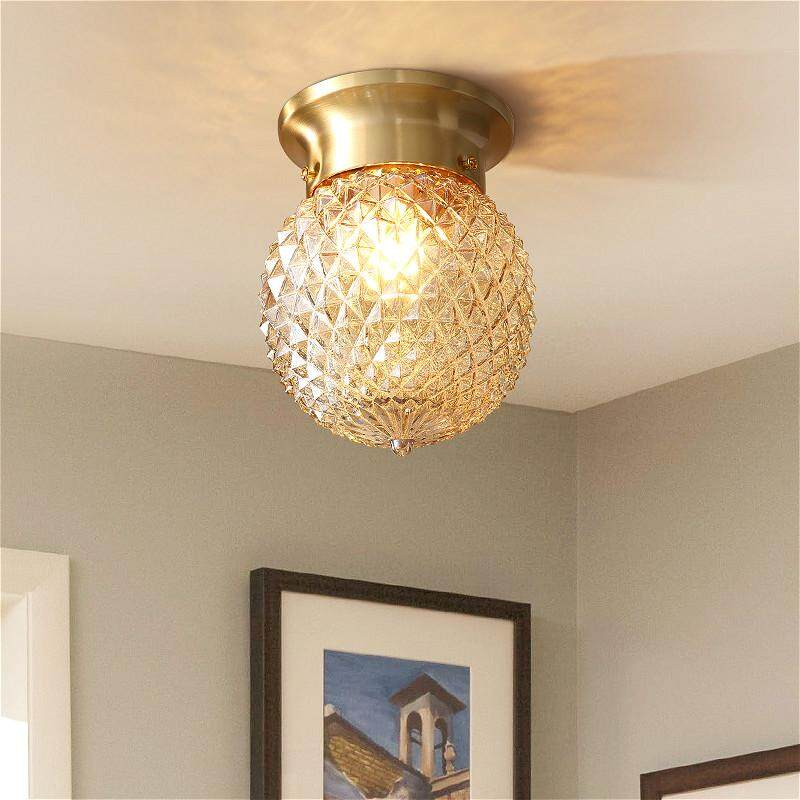 High Quality Ceiling Lights Flower Round Shade E27 Luxury Gold Color Copper Lamp LED Ceiling Lamps Balcony Porch Lighting Fixtures