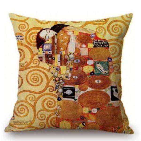 Gold Luxury Decorative Oil Painting Home Decorative Pillow Case Cover Gustav Klimt Gallery Collection Sofa Chair Cushion Cover