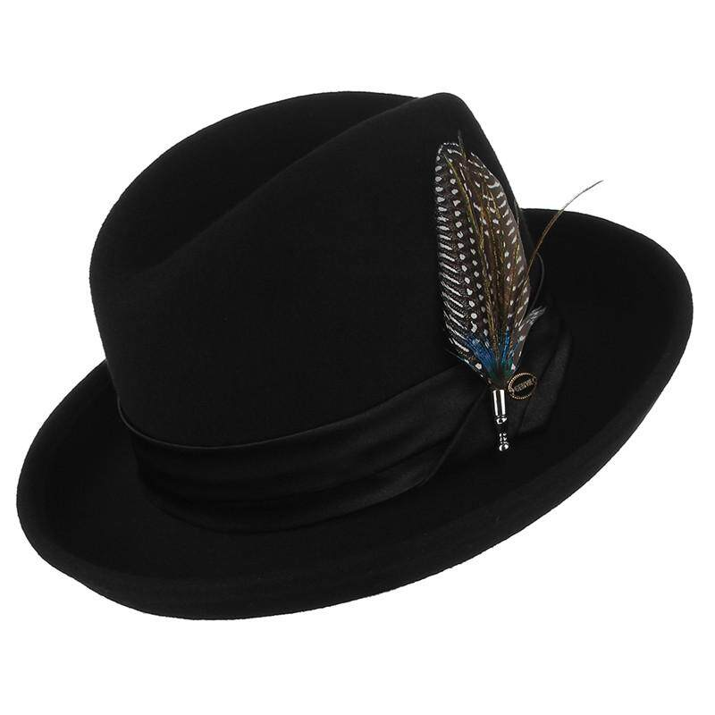 483f1a5828cd2 Classical Jazz Cap Pure Wool Fedoras Men Felt Hat With Beauty Feather Male  Vintage Curved Brim Woolen Billycock Top Hat Philippines