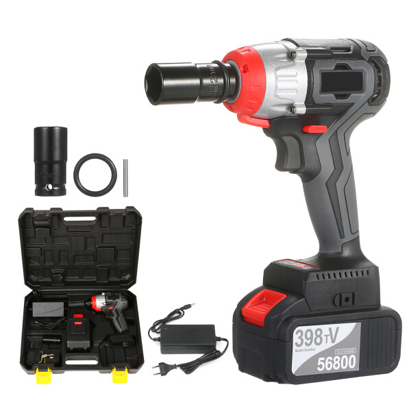 Cordless Impact Wrench 980Nm Torque Brushless Motor with 1/2 and 5/16 Inch Quick Chuck 4.0A Fast Charger Variable Speed Multifunction Impact Kit with Belt and Carrying Case