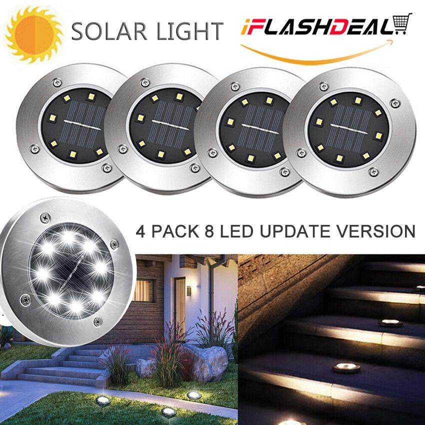 iFlashDeal 4PCS 8 LED Outdoor Solar Light Garden Ground Lamp Stainless Steel Waterproof IP65 Solar Path Lights Security Lamps for Yard Landscape Floor