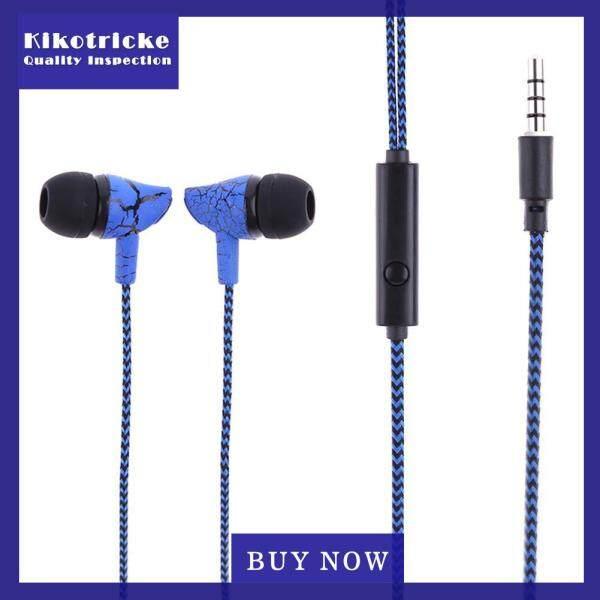 Universal Braided In Ear Earphone Bass Line Control Crackle Headphone w/Mic Singapore
