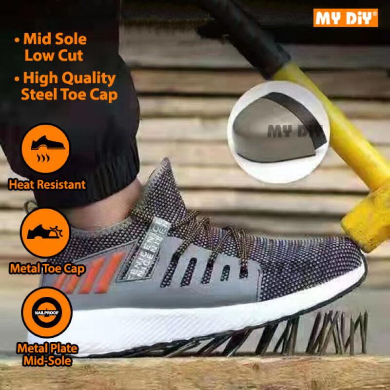 DIYHARDWARESTATION - SAFETY SHOE SAFETY BOOTS STEEL TOE CAP LIGHT WEIGHT Kasut Safety Work Shoes Anti-smash Anti-puncture / Kasut Kerja Besi Selamat