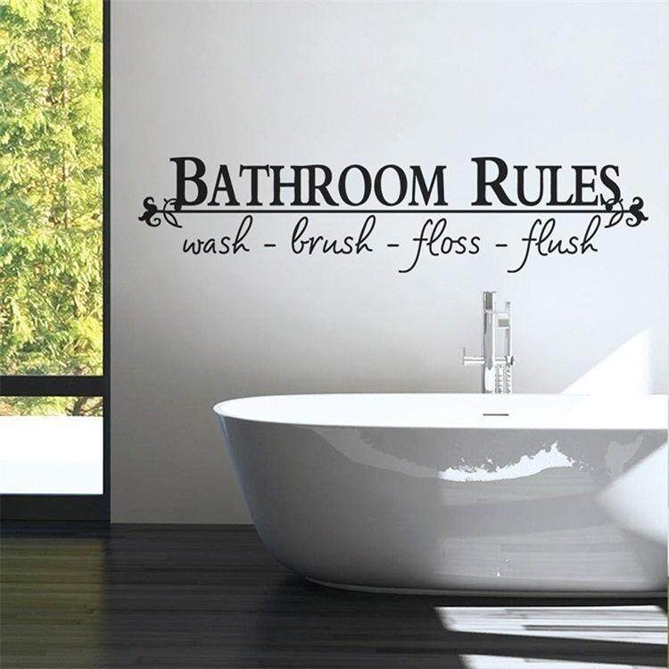 Home Art Wall Quote Stickers \Bathroom Rules\ Decoration Decals Vinyl Art Decor
