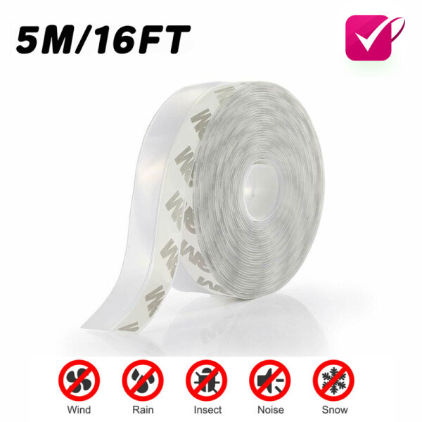 5M/16FT Door Sealing Strip Weather Stripping Self Adhesive Silicone Draft Bottom Rubber Stopper Silicone Door Windows Seal Strip