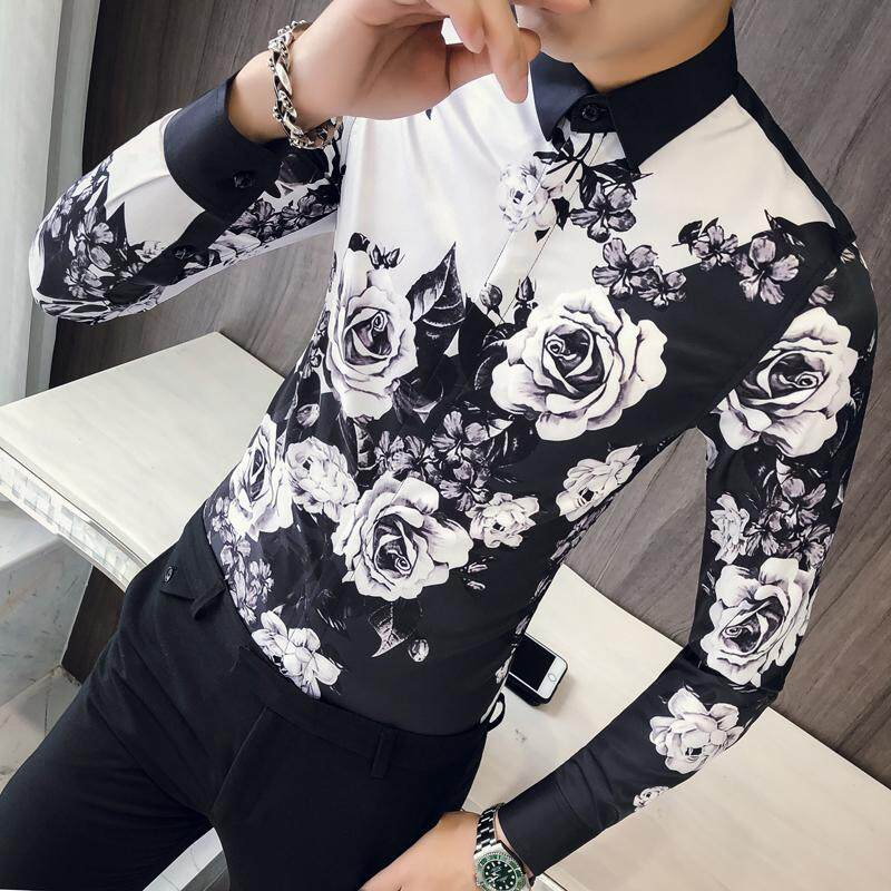 Rose Shirt Men Designer Shirt Patterns Ropa De Hombre 2018 Button Up Men Long Sleeve Slim Fit Wedding Shirt Men Club Party By Breaking Point Store.