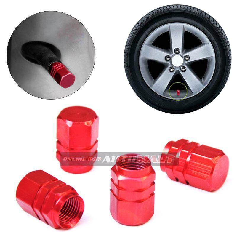 4pcs Aluminium Alloy Tyre Valve Tyre Cap Valve Stem Air Caps Airtight Cove Red By Online Car Accessories.