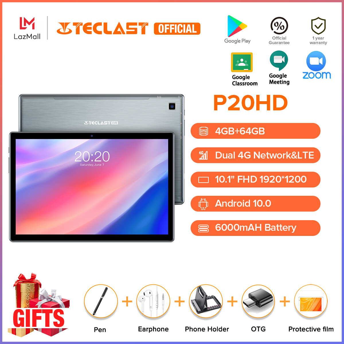 【Hot Sale】Teclast Official P20HD 10.1 Inch Tablet Android 10.0 OS 4GB RAM 64GB ROM 4G Phone Call Full HD Screen 1920×1200 SC9863A Octa Core 6000mAh Battery AI Speed-up Tablets PC Dual Wifi