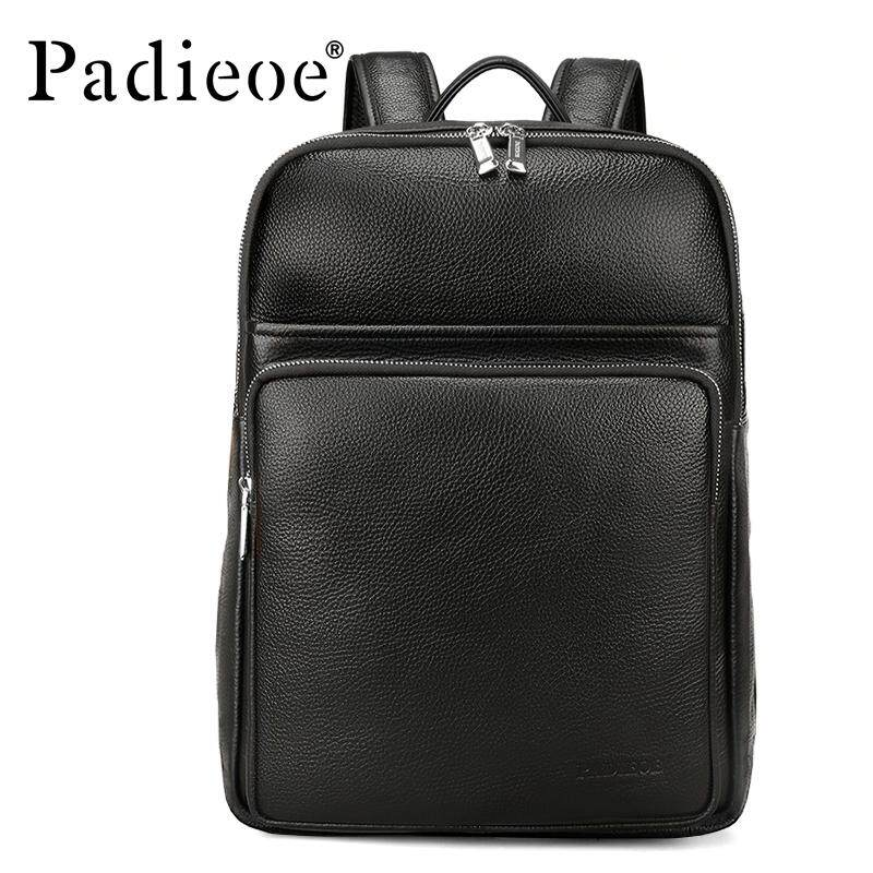 Padieoe New Fashion Men Bags Casual Genuine Leather Men s Backpack Laptop  Bag Teenagers Fashion Large Capacity f79e38f46aeb7