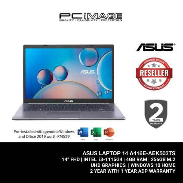 ASUS Laptop (A416E-AEK503TS) i3-1115G4 / 4GB Ram / 256GB SSD / 14 FHD / MS Office / 2 Yrs Warranty - Grey Malaysia
