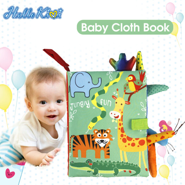 HelloKimi Soft Baby Cloth Books Early Learning Sensory Educational Toys Animal Cloth Book Fabric Books Kids Cartoon Animal Toy Book Rustle Sound 3D Tail Educational Touch and Feel Crinkle Books for Boys & Girls Toddler Infants Baby Children Toys