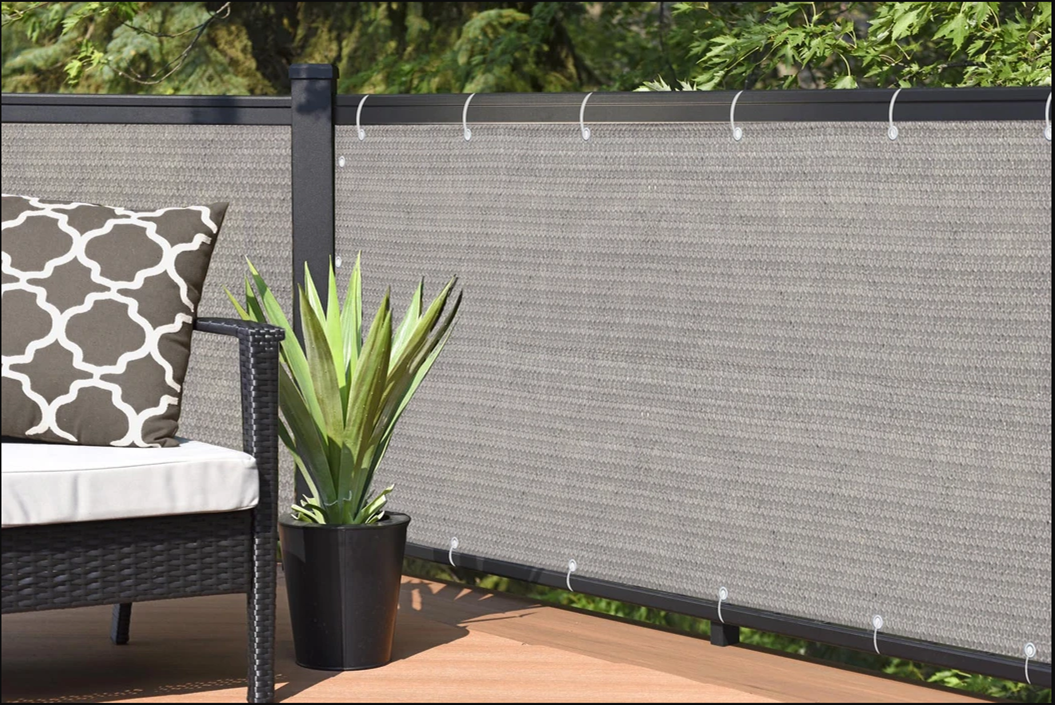 3ft Height Privacy Screen Fence Screen Wind Screen for Balcony Backyard Deck Patio Fence Porch Grey