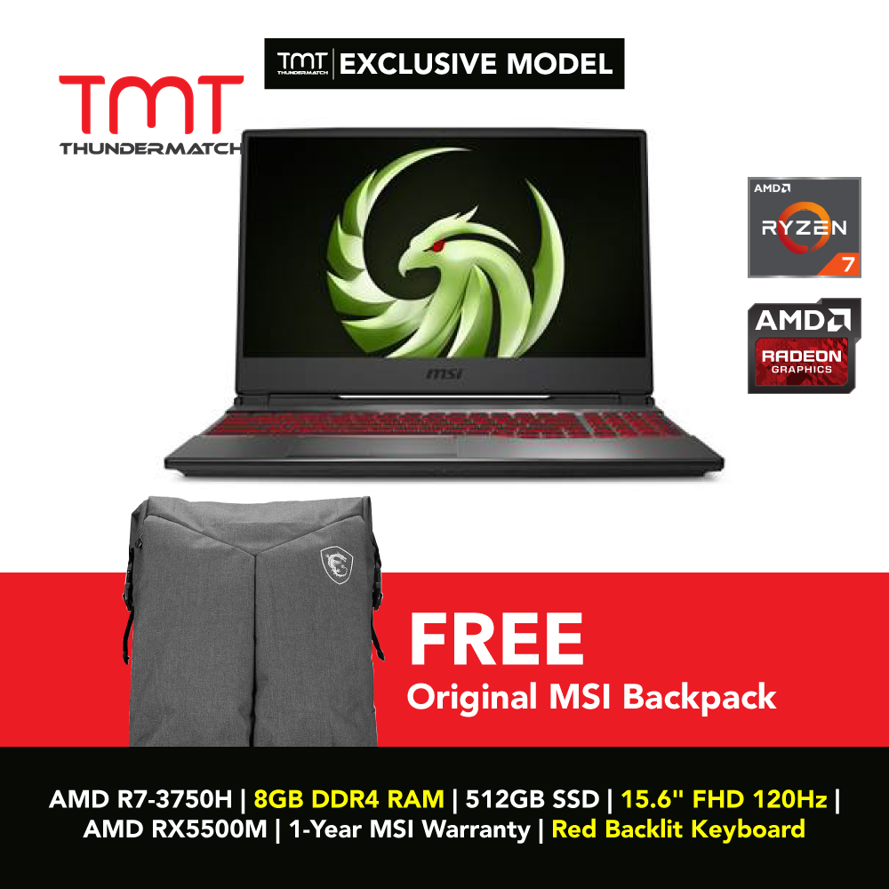 [Ready Stock] TMT Exclusive MSI Gaming Alpha 15 A3DDK-049BN (Black): AMD R7-3750H   8GB   512GB SSD   15.6   AMD RX5500M   1-Yr MSI Wrty   Red RGB Keyboard Malaysia
