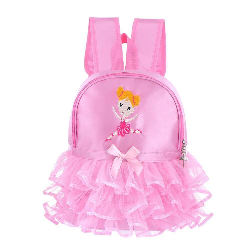 Pink Kids Girls Ballet Dance Bag Students School Backpack Toe Shoes Embroidered Tiered Ruffled Tutu Shoulder Bag