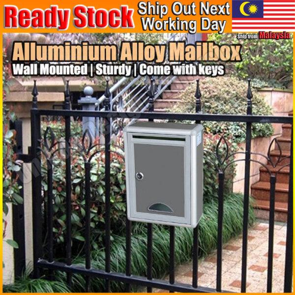 Aluminium Alloy Mailbox Wall Mounted Outdoor Letter Post Mail Box Peti Surat
