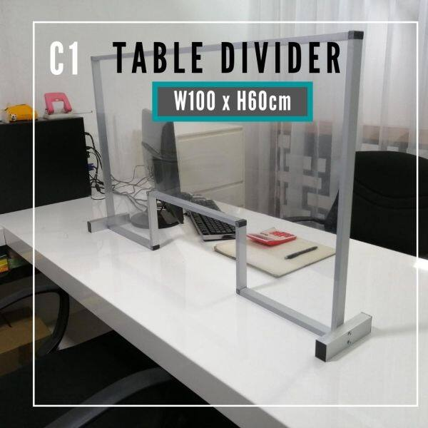 (Pre-Order) Liveplus C1 -W100xH60 with Window -Cashier/Reception Counter Sneeze Guard Table Divider/Barrier Protector Shield Restaurant Office Canteen -C Series( ETA : 2021-8-03 )