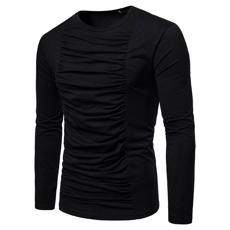 319c8fd85 Product details of Pleated Solid color Men's T-Shirt Long sleeve T Shirt  Men Tops Tees Men's Clothing New White Black Hip hop
