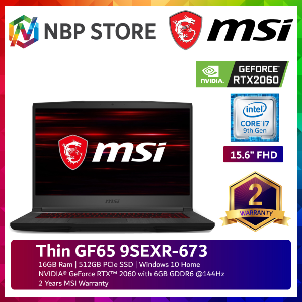 MSI Thin GF65 9SEXR-673 15.6 FHD 144Hz Gaming Laptop ( i7-9750H, 16GB, 512GB SSD, RTX2060 6GB, W10 ) Malaysia