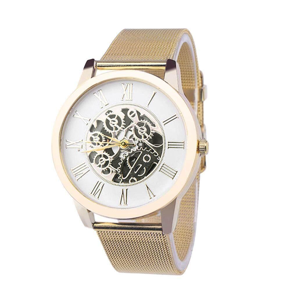 Men Hollowed Round Dial Watches Luxury Alloy Strap Analog Quartz Wristwatch Malaysia