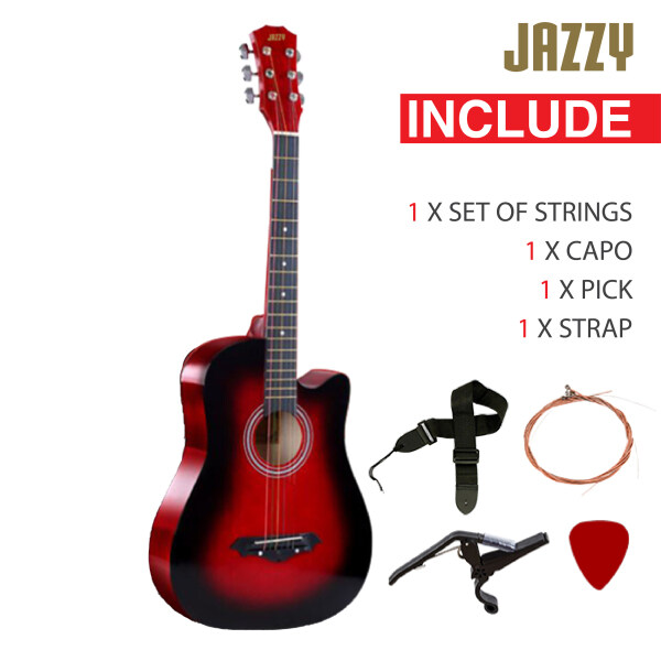 JAZZY 38 Inch Acoustic Guitar Red Cutaway Basic Guitar Malaysia