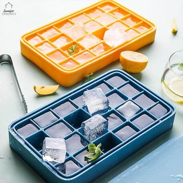 Bánh Macaron ngọt Khuôn làm đá viên silicon 24 khối Có Nắp Khuôn làm đá viên tự làm Hộp đựng đá gia dụng Dụng cụ uống lạnh Dành cho quán bar gia đình 1 cái