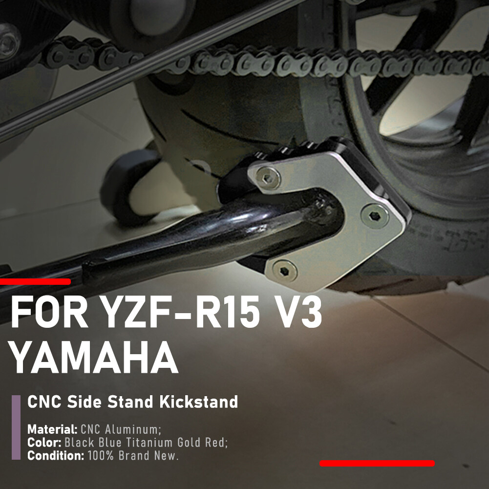 Motorcycle CNC Kickstand Side Stand Extension Plate Pad For Yamaha YZF R15 V3 2017 2018 2019(Black)
