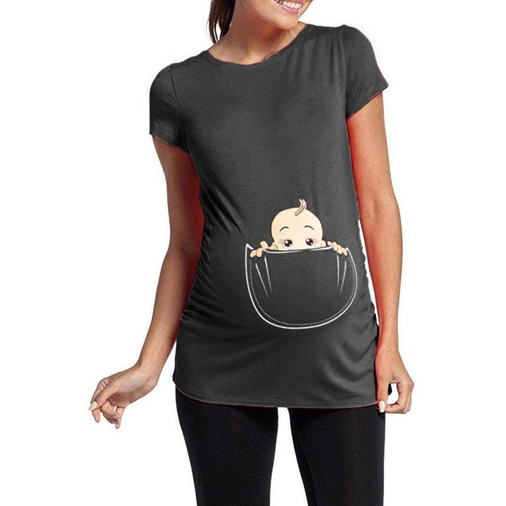 Aynshop Womens Maternity Baby In Pocket Print T-Shirt Top Tee T-Shirt Pregnancy Clothes By Aynshop.