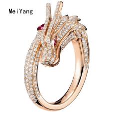 Meiyangสร้างสรรค์มังกรรูปร่างแหวนปรับวินเทจพังก์มังกรแหวนผู้ชายร็อคแร็พแฟชั่นแหวน