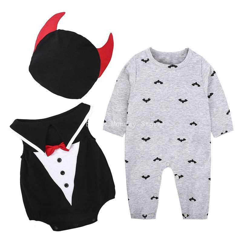 BM Anak Halloween Kinerja Suit Jumpsuit Bentuk Kelelawar + Topi 3 Buah Set