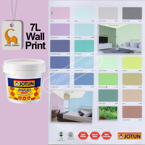 Jotun Jotaplast Max 7L Colour Paint For Interior Building Water Base Walls & Ceiling Cat Dinding Dalam Rumah White 0000, Willow White 0430