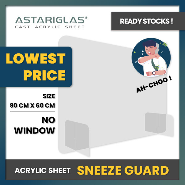 [LOW PRICE] 90CMx60CM Acrylic Sneeze Guard / Acrylic Protect Shield / Acrylic Counter Divider / Acrylic Transparent Barrier