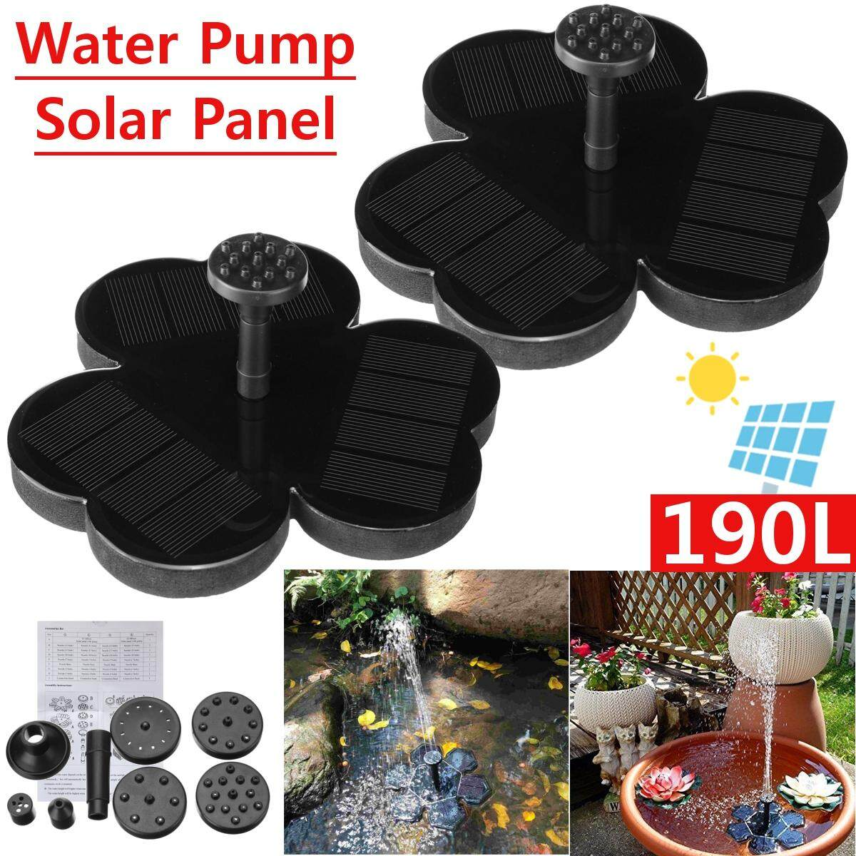 2Pcs Solar Panel Garden Watering Power Pool Fountain Floating Water Pump 190L