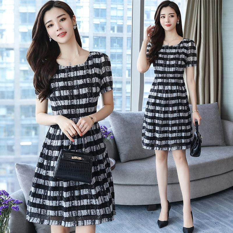 88603e7a02d Women Summer Stripes Long Dress Short Sleeve A-line Dress Loose Elastic  Waist Plus Size