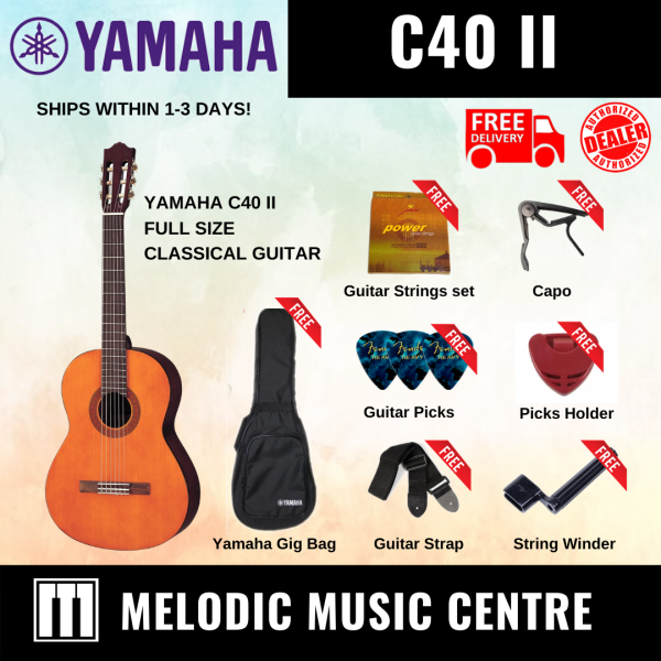 YAMAHA C40 II Classical Guitar Nylon String 4/4 Full Size BUNDLE READY STOCK (C-40 / C 40 / YAMAHA C-40) Malaysia