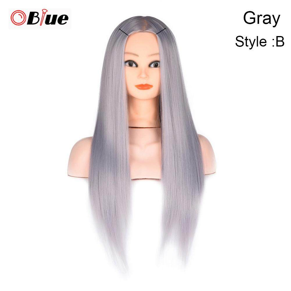 OBlue Female Wig Head Model Hair Training Mannequin Head with Holder for Haircut Salon gray+B